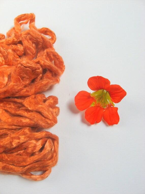 Mulberry Silk Roving 1 oz ( 28 g) PUMPKIN  ORANGE - Hand dyed fiber