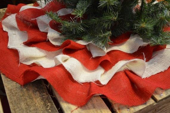 Mini Burlap Christmas Tree Skirt: Red And White Burlap Ruffle