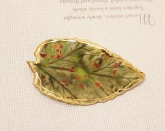 Vintage Ceramic Leaf Brooch, Leaf Jewelry