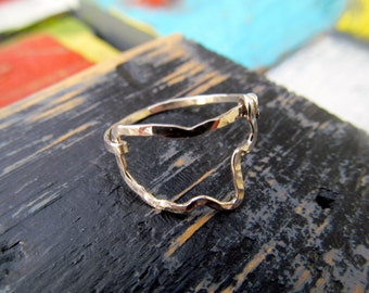 Mississippi shaped ring Hammered, Mississippi Outline wire ring, Mississippi Jewelry, Mississippi state ring, wire state ring