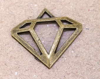 6 Beads Charm diamond Pendant bronze Plated Victorian Pendants Beads ----- 30mmx 27mm ----- 6Pieces 2P