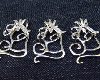 5Beads Charm flower Falling head clamp pendant  Link  Beads Antique Silver Victorian Pendants Connector Beads ---27mmx17mm -- 5Pieces DSCF