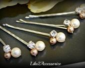 Pink Hair Pin Bridal Hair Pin Wedding Hair Accessories Swarovski Pearl Bridesmaid Hair Clip Floral Vine Hair Pin Ivory Champagne Pearl Clip