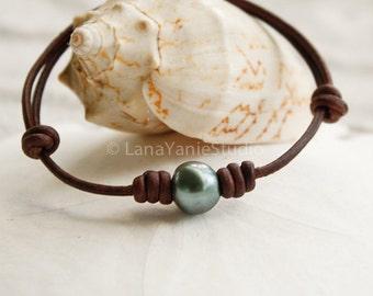 Adjustable Tahitian Pearl and Leather Bracelet
