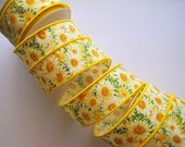 """Daisy Patch Cotton Wired Ribbon, Yellow, 1 3/8"""" inch wide, 1 yard, For Gift Packing, Wreaths, Center Pieces, Home Decor"""