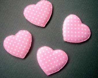 """Polka Dot Puffy Heart Iron-On Embroidered Appliques,1 1/2"""" X 1 3/8""""  inches, Pink, x 4, For Scrapbook, Apparel, Home Decor, Accessories"""