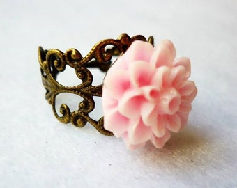Pink Flower Vintage Style Ring