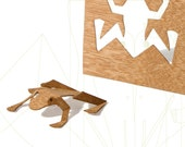 postcard wood - 3 frog cards