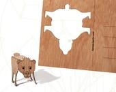 postcard wood - 3 Berlin Bear cards