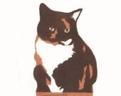 Cat in a box woodcut