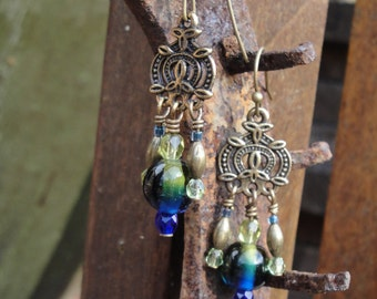Namaste Brass and deep blue and green earrings