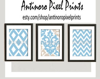 Blue Tan White Ikat Damask Wall Art -  (3)  8x10 Prints - Custom Color, Sizes and Quantities Available  (UNFRAMED)