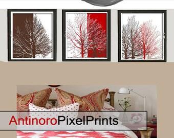 Home Decor Digital Poster Brown Tan Red White Tree Wall  Art Print  - Set of (3) 11x14 Wall Art - (Unframed).