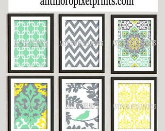 Digital Print Wall Art Yellow Green Grey Vintage / Modern inspired Wall Art -Set of 6 - 5x7Prints -   (UNFRAMED)