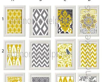 Yellow Grey Wall Art Prints -Pick Any (2) Any Color - 8x10 Prints -  Dark Yellow Greys White  (UNFRAMED)
