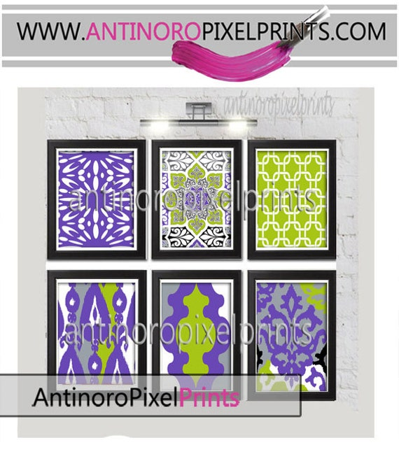 19 Collection Of Purple And Grey Wall Art: Items Similar To Wall Art Prints Purple Chartreuse Grey