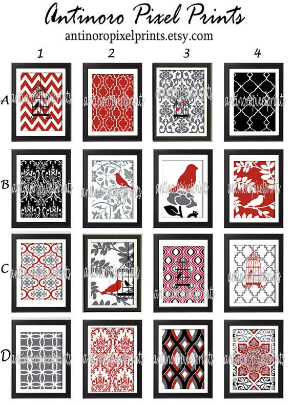 Red Black And Gray Wall Decor : Red black grey bird damask wall art prints by