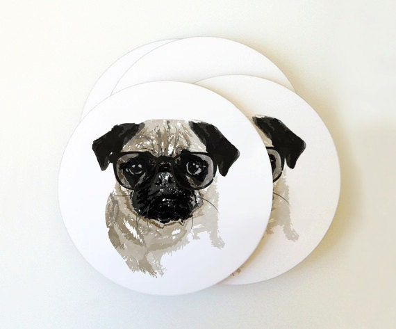 Pug Portrait Coaster Set
