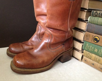 Brown Leather Riding Boots, Campus Made in USA, Calf Height, Womens Size 8 US