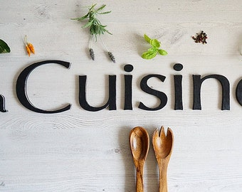 Wall decoration, La Cuisine sign, French kitchen decor, wooden letters - Home decor