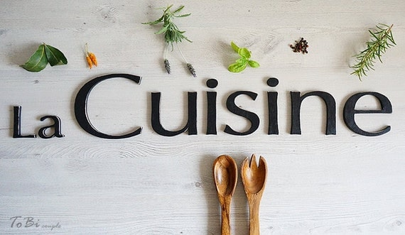 wall decoration la cuisine sign french kitchen decor wooden ForCuisine Wooden