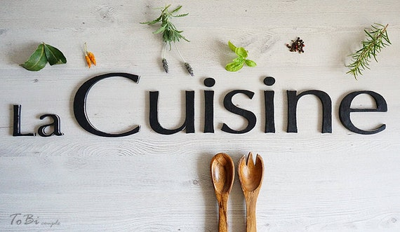 wall decoration la cuisine sign french kitchen decor wooden