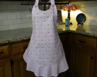 Pink  Roses and Polka Dots Apron