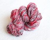 Mustang -- Handspun Thick and Thin Bulky Merino Wool and Bamboo Yarn --  62 Yards - Red, Gray, Black, White
