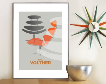 Chair Print - Poul Volther Corona Chair Print, Mid century modern, Furniture Poster print, Eames era, A3