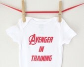 Superhero - Avenger in Training Bodysuit Avengers Creeper Super Hero Baby Shower Gift Snapsuit