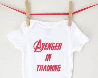 Superhero - Avenger in Training Bodysuit Avengers Creeper Super Hero Baby Shower Gift Snapsuit