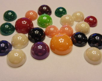 22 piece shinny acrylic cabochons mix, 14-20 mm