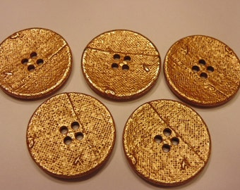 5 LARGE  gold color acrylic buttons, 28 mm (21)