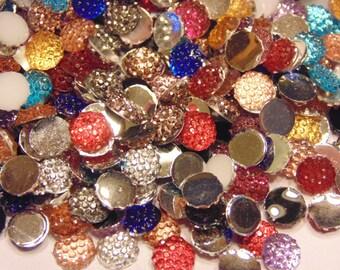 50 dotted flat back rhinestone beads, 6 mm (S1)