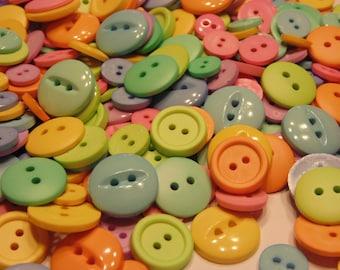 50 piece pastel color button mix, 10-19 mm (B11)
