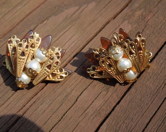 Vintage Clip Earrings, Gold Tone Filigree, Brown, Faux Pearls.  Superb