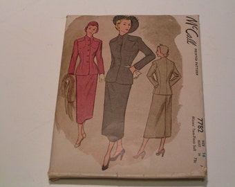 Vintage McCalls Pattern 7782 Miss Two Piece Suit