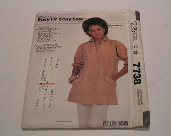 Vintage McCalls Pattern 7738 Easy Fit Easy Sew Miss Tunic