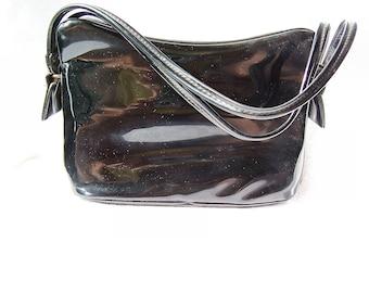 Black Patent Leather and Brass Purse, Black Handbag with Tan Leather Interior, Shiny Black Clasp Purse