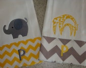 Yellow and Grey Chevron added to Burp Cloths