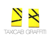 Taxicab Graffiti post earrings in yellow and black