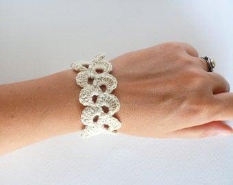 Crochet bracelet, Birthday gift, lace trim bracelet, white cotton bracelet, wedding bracelet, romantic Shabby chic bracelet, wide cuff