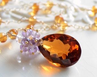 Fall Bridal Necklace, Burnt Orange Maderia Citrine Lavender Pink Amethyst Gemstones, Gold Wedding Jewelry - Rich Autumn - Free Shipping