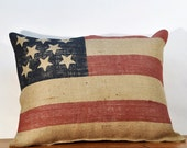 Burlap Pillow - American Flag Pillow - Decorative Pillow - Anniversary Gift Husband - 16 x 20 Inches  79838