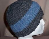 XL Beanie Hat Men's Hand Knit Ski Winter Snowboard Stocking Cap Wide Stripe Wool Gray Blue