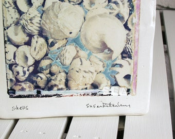 Shells.  Polaroid Emulsion Transfer on Canvas-Shaped Clay.  Seashells.  Beach Art.  Nautical Polaroid Art.  Photograph Printed On Ceramic.
