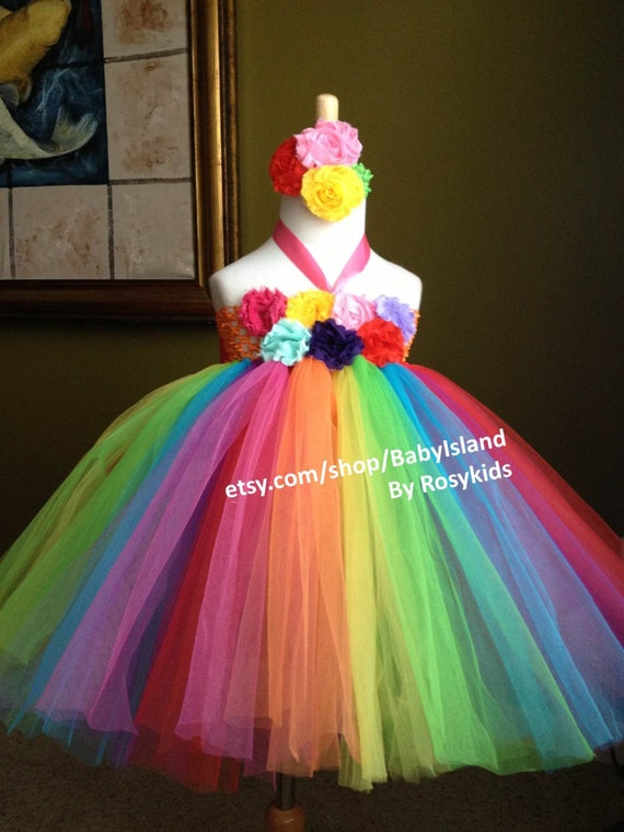 Rainbow Color Tutu Dress Birthday Party Photo Girl Baby