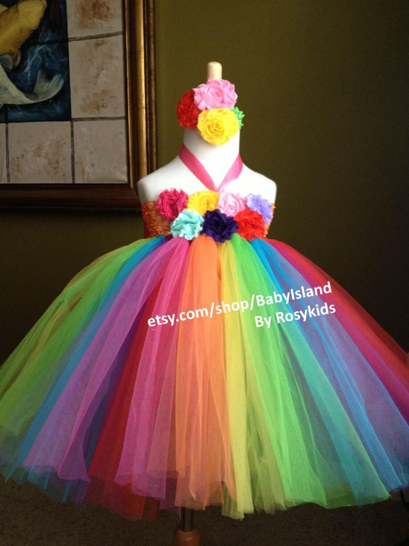 Rainbow color tutu dress birthday party photo girl baby