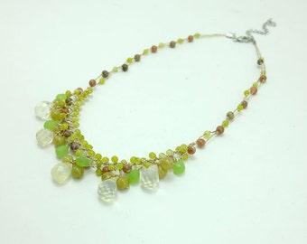 Tear drop green jade, peridot on silk necklace.