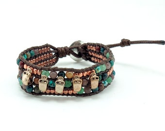 Skull charm,jade,onyx,pink gold plated wrap bracelet.